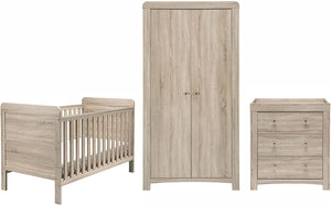 The washed wood effect of this nursery set will be perfect for any nursery decor due to its soft tones