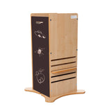 Little Helper FunPod learning tower with chalkboard panels. Keeping toddlers safe in the kitchen since 2006.