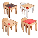 Little Helper FunStation range of kids table & chairs available in white, red, chalkboard desk & natural.