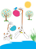 Colourful & cute mummy and baby giraffe design available in a range of different sizes, printed onto thick matt paper