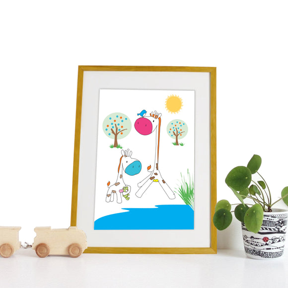 40 x 30cm natural wooden frame with strut with a white mount featuring a colourful giraffe print for bedrooms or playrooms