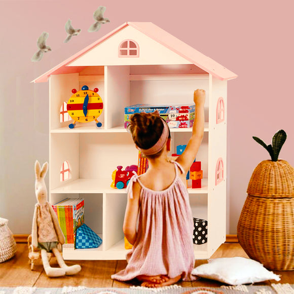 Large 3 Storey Montessori Dollhouse & Bookcase | Toy Storage | 1.07m High