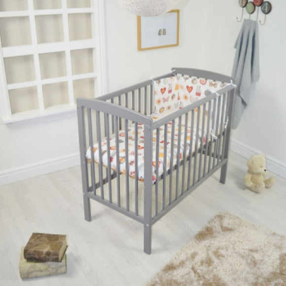 Grey Solid Pine Space Saver Dropside Cot   with measurements of 105cm Long x 55cm Wide