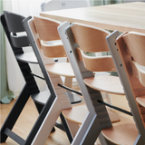 This high quality, modern scandi-design highchair cum desk chair is available in a range of colours to suit decor and space