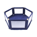 This is a versatile & portable hexagon baby playpen in blue, with mesh sides & a thick padded base at size: 160 x 140 x 61cm