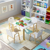 Kids Solid Wooden Table & 4 Height Adjustable Chairs | White & Natural Finish | 3-12 Years