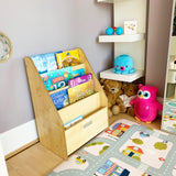 This lovely staggered childrens bookcase from Little Helper is perfect and at toddler height to promote independence