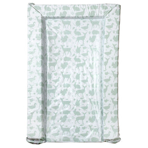 This woodland wonders animal print baby changing mat features restful tones of soft shade of sage green to soothe your little one