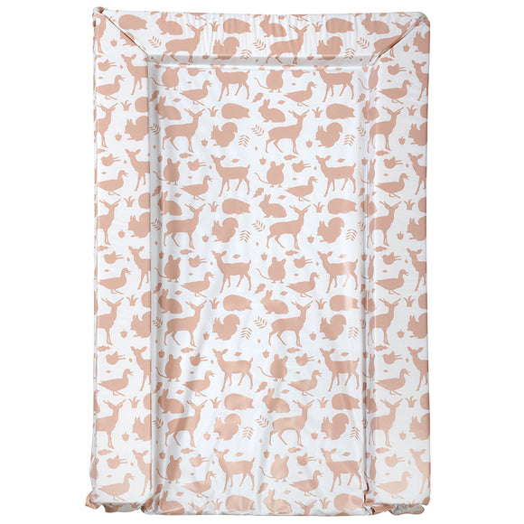 This woodland wonders animal print baby changing mat features soft shades of tan to compliment any nursery decor