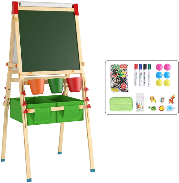 Kids Pine Wood Magnetic Whiteboard and Blackboard with storage and 30 pc Accessory Kit