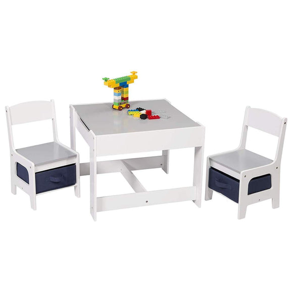Lovely kids table and chairs set with reversible blackboard desk top with storage underneath and drawers under the chairs
