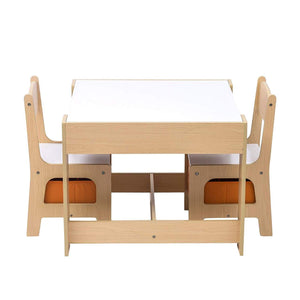 Lovely natural and white kids table and chairs set with reversible blackboard desk top with storage underneath and drawers under the chairs