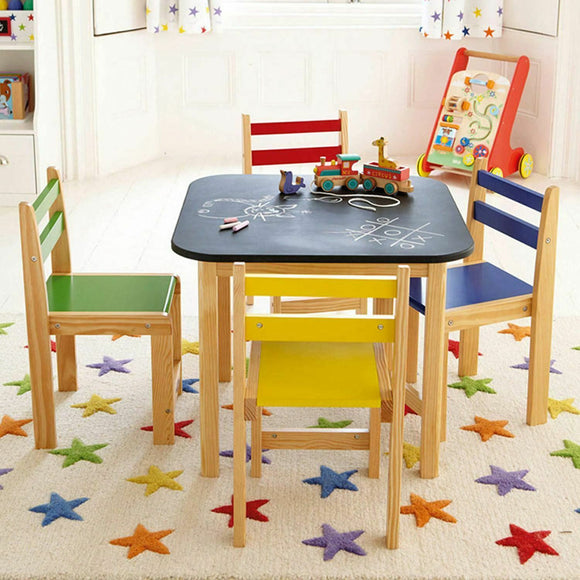 Kids 5 Piece Wooden Table & 4 Chairs Set  with Easy Clean Blackboard Desk Top  for children aged 3 Years plus