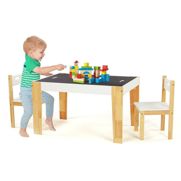 Kids Large Wooden Table | Reversible Desk Top | Blackboard Desk | Storage Compartments