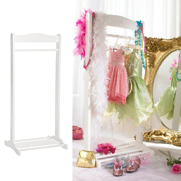 This Montessori inspired childrens wooden white hanging rail and shoe rack is perfect where space is limited.