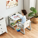 This white and grey chunky multi purpose activity desk and easel comes with lots of storage place for your artist's tools