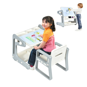 Children's 4-in-1 Table & Chair  | Height Adjustable Easel Whiteboard | Dry Wipe & Magnetic | Storage | 3 Years+