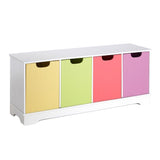 This toy storage unit with 4 large and colourful boxes is 120cm wide x 34cm deep x 43cm high