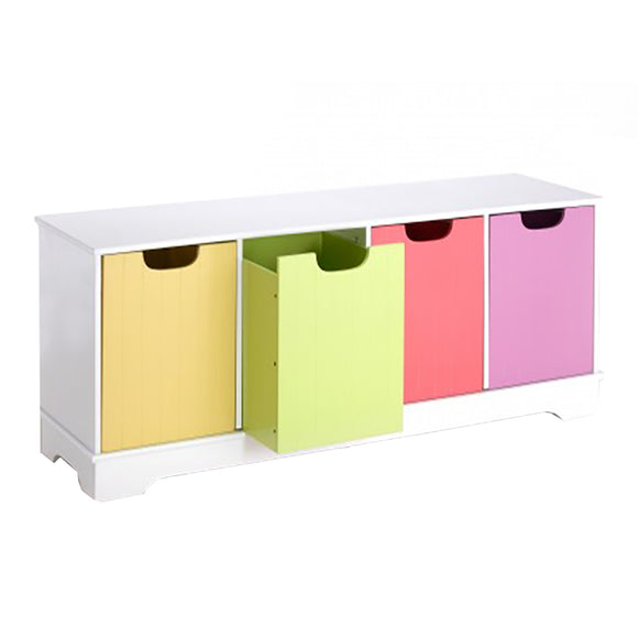 This lovely 1.2m wide high quality toy storage unit and bench has four boxes in four colours within a white frame.