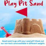 Add some non-toxic, stain resistant and soft to the touch play sand for kids sandpits and childrens playpits, sold separately