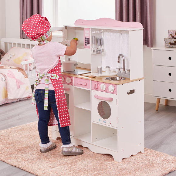 Pink Wooden Montessori Toy Kitchen | Country Style Toy Kitchen with 9 Pretend Cooking Tools