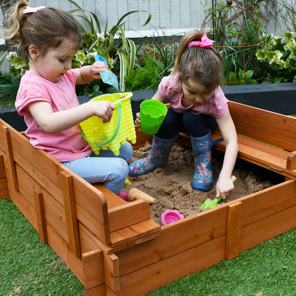 Childrens Non-Allergenic Pre-Treated Wooden Sand Pit with Lid and Seats | Outdoor Kids Sand Pit  3-8 years | 96 x 96cm