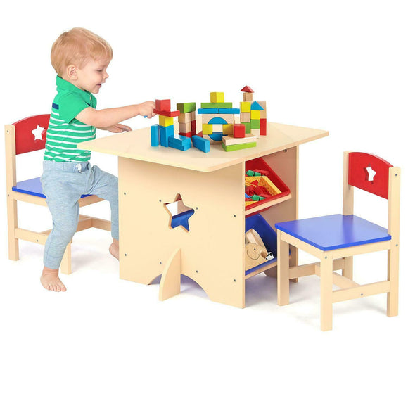 A Kids Natural Wooden Table & 2 Chairs Set  with 4 large Storage Bins or Boxes for children aged 3 years plus