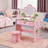 Fairy Dressing Table and Stool has beautiful pastel pink colours. Friendly fairy and flowers decorate this useful piece of furniture.