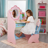 Beautiful Fairy dressing table in pastel pink, blue and green with flower detailing.
