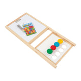 Comes with 5 pieces of chalk, 26 magnetic letters, dry wipe pens, cleaning sponge and 4 paint pots with lids.