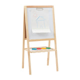 A double-sided easel with a chalkboard on one side and a magnetic dry wipe board with a paper clip on the other!