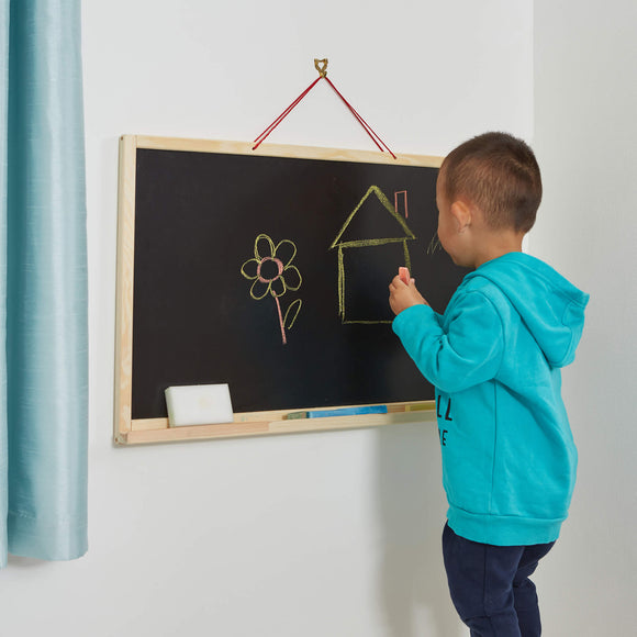 Explore creativity with this space saving wall-mounted easel board!