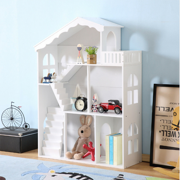 3 storey white wooden bookcase and dollhouse in one at size 116cm high x 83cm wide x 31cm deep
