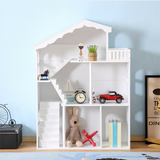 This super tall montessori inspired white dolls house bookcase with balcony and stairs is perfect for toddler bedrooms and playrooms