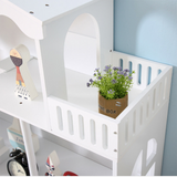 Finished in a classic white paint, this doll house and bookcase is perfect for any bedroom or playroom