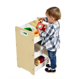 Wooden Freestanding Modern Kids Toy Storage Unit - White & Natural