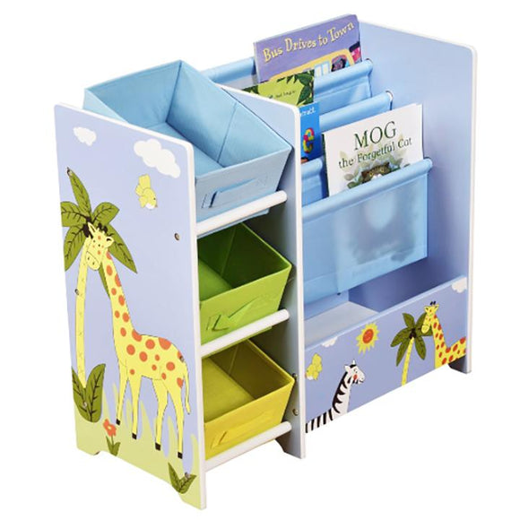 This kids safari themed furniture has 3 woven fabric boxes in 3 colours, 4 deep book display shelves and storage drawer