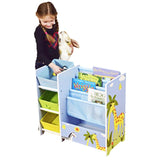 At a toddler friendly height, this multi purpose freestanding unit has 3 forms of storage and measures 60 x 35 x 65cm