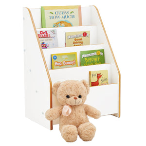 High quality  Little Helper White Wooden Bookcase with 4 staggered shelves at a toddler friendly height.