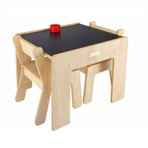 Little Helper FunStation Duo Chalky kids wooden table & 2 chairs set with chairs storing neatly under the table when not in use