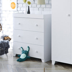 This crisp white Italian-inspired baby changing unit and chest of drawers has 3 easy-glide full-length drawers