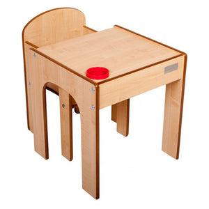 Little Helper FunStation wooden kids table & chairs set - natural finish with inset pen and paintbrush pot