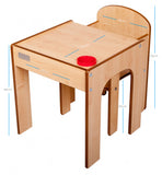 Little Helper FunStation natural wooden kids table & chairs set showing measurements of table and chair