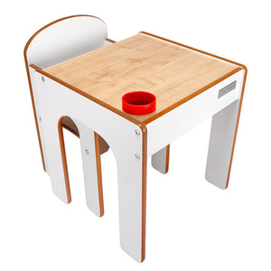 Wooden kids table and chairs from award company Little Helper - natural and white finish with inset pen/paintbrush pot holder