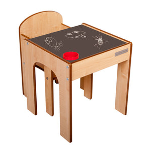 Wooden kids table and chairs from award company Little Helper - natural with chalkboard desk and inset pen/paintbrush pot