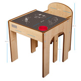 Little Helper FunStation natural wooden kids table & chairs set with chalkboard desk surface showing measurements