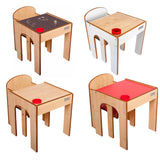 Little Helper FunStation range of kids table & chairs available in chalky finish, red, natural & red.