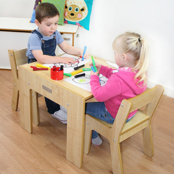 Little Helper FunStation natural wooden kids table & chairs set for 2 toddlers aged 24 months upwards with pen/paintbrush pot