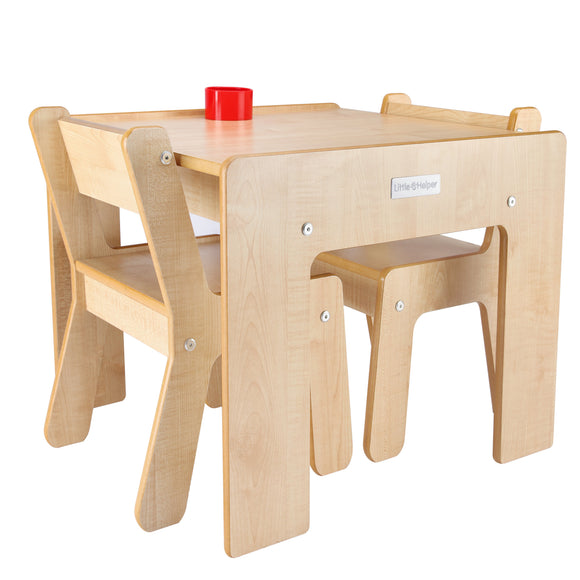 Little Helper FunStation kids maple wooden table & 2 chairs set with chairs fitting comfortably under the table when not used