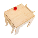 Little Helper FunStation natural wooden kids table & 2 chairs set for twice the fun - play with siblings or friends